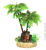 Hermit Crab Palm Tree w/Hut 6.5x6x13cm